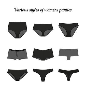 女性のさまざまなスタイルの黒パンティー