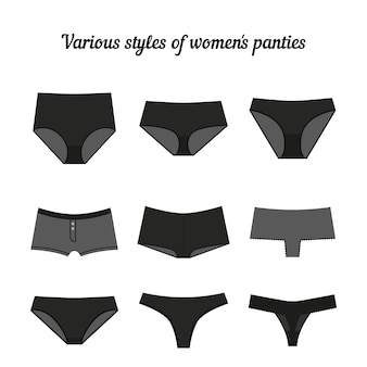 Various styles of women black panties