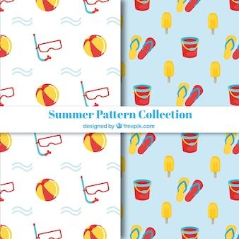 Различные летние узоры с цветными предметами