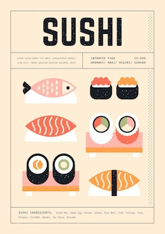 さまざまな寿司の幾何学的なプリントテンプレートポスター