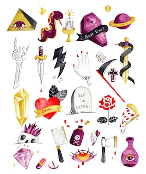 Various tattoo element doodle watercolor vector