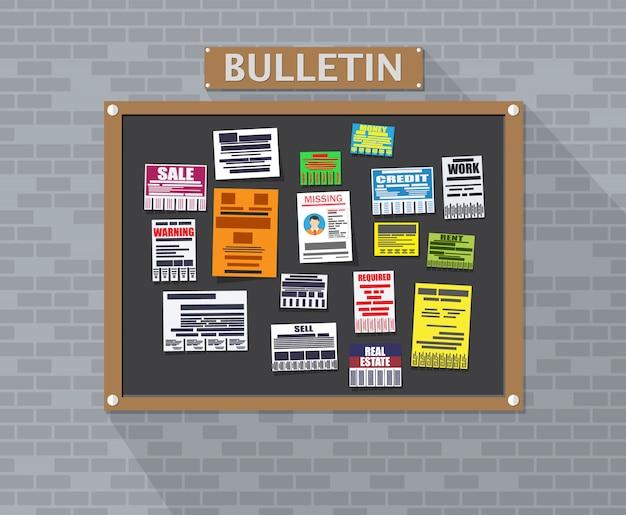 Различная отрывная реклама на доске объявлений