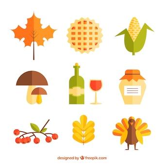 Различные элементы благодарения в плоском дизайне