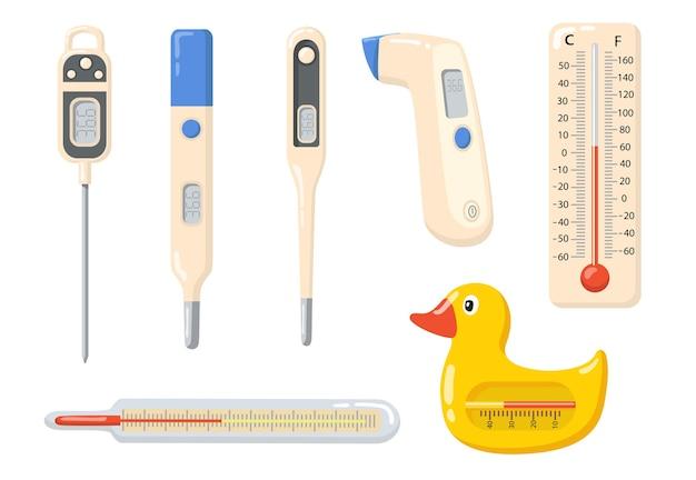 Set di articoli piatti vari termometri. strumento medico del fumetto per la raccolta dell'illustrazione di vettore isolata misurazione ad alta temperatura. strumenti di misura e concetto di indicazione