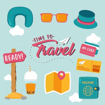 Various time to travel item vector design collection
