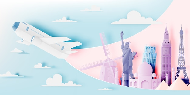 Various travel attractions in paper art style
