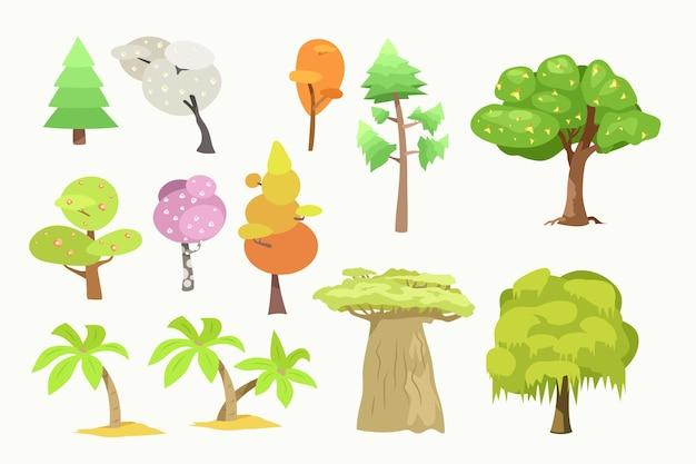さまざまな木が孤立して設定