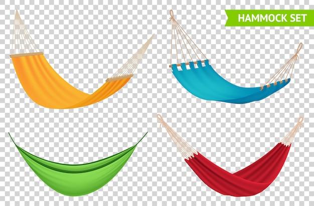 다양한 유형 4 가지 다채로운 교수형 해먹 세트 빨간색 노란색 파란색 녹색 패브릭 투명