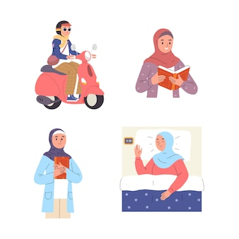 Various types of activities of young women wearing hijab riding a scooter, sleeping, reading and learning