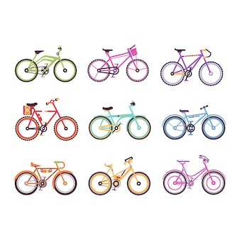 Various types of bikes for male, female and kids set, colorful bicycles with different frame types  illustrations