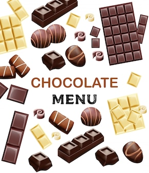 Various types of chocolate and cocoa beans
