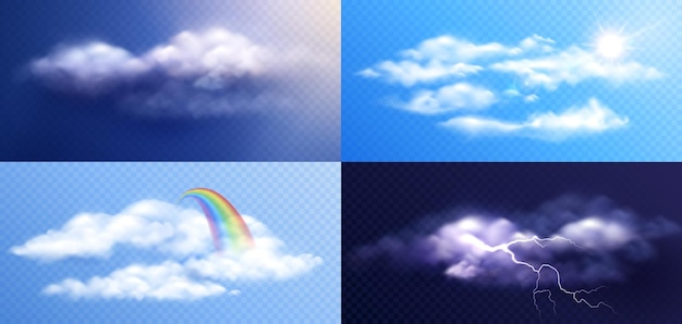 Various types of clouds collection illustration