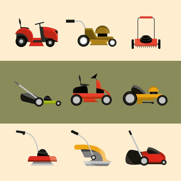 Various types of lawn mowers equipment icons illustration