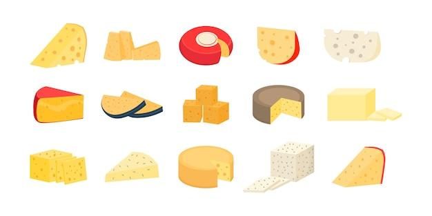 各種チーズ。チーズホイールと白い背景で隔離のスライスのセット。モダンなフラットスタイルの現実的なアイコン。新鮮なパルメザンチーズまたはチェダーチーズ。