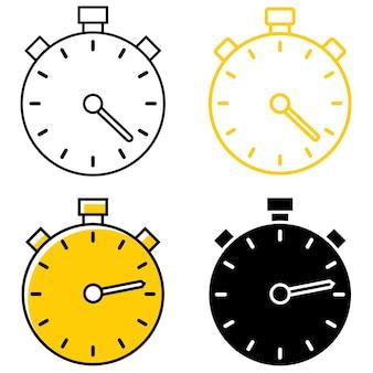 Различные типы таймеров. набор иконок секундомеры. секундомеры для тайм-менеджмента, интернета, приложений и прочего. значок наброски знака таймера. редактируемый штрих. векторная иллюстрация плоский, изолированные на белом фоне