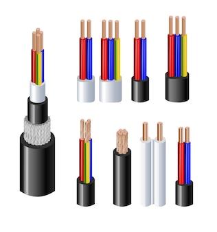 다양한 유형의 전력 음향 케이블은 전선 도체가 전체 시트와 함께 고정되어 있습니다...