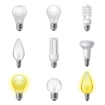Various types realistic lightbulbs set