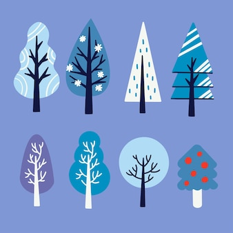 Various unique style of trees asset illustration