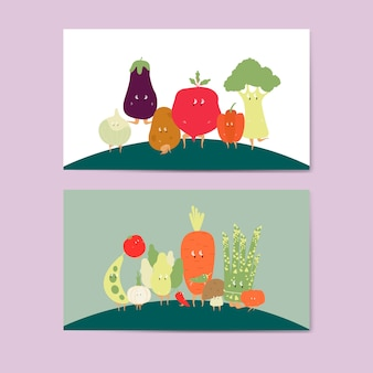 Various vegetable cartoon characters vector set