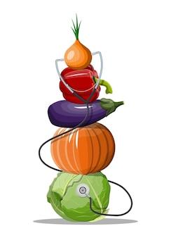 聴診器で様々な野菜。