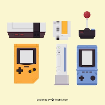 Various video game objects in flat design