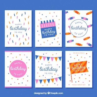 다양한 빈티지 생일 카드