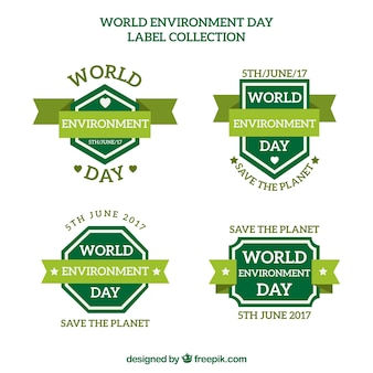 Various vintage environmental day stickers