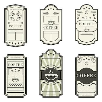 다양한 빈티지 라벨 커피