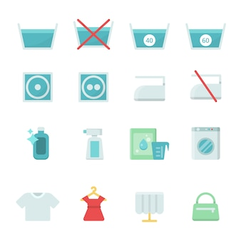 Various washing icon set
