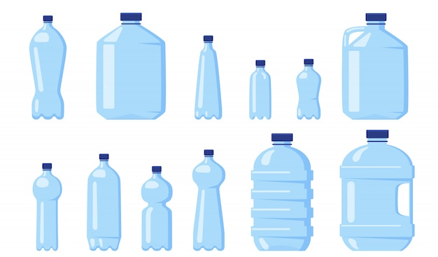 Various water plastic bottles