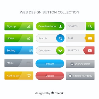 Various web buttons in gradient style