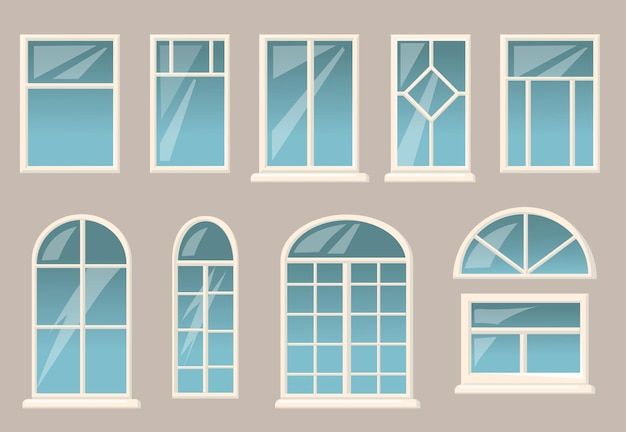 Various windows set. different frames and glasses on grey building wall background.