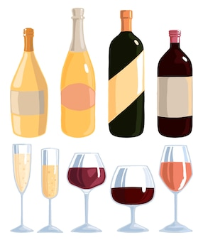 Various wine bottles and glasses. collection of flat hand drawn vector illustrations. colorful simple alcoholic elements in scandinavian style. set for design.