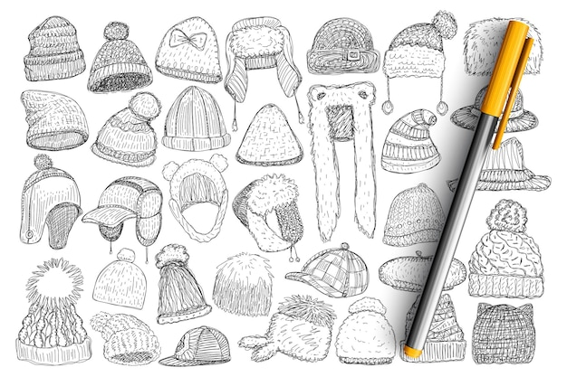 다양한 겨울 모자와 모자 세트 낙서. 고립 된 겨울 시간 동안 야외에서 입고 모피와 손으로 그린 세련 된 모자 모자 컬렉션입니다.