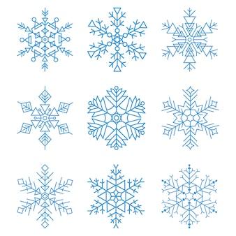 様々な冬の雪のアイコンセット。