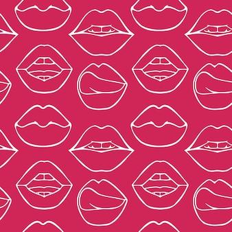 Различные женские губы бесшовные модели различные сексуальные формы губ doodle style fashion cosmetology