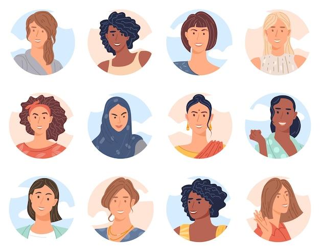 다양한 비즈니스 팀 평면 디자인 벡터 컬렉션의 다양한 여성 아바타 컬렉션입니다. 즐겁게 웃는 동료의 묶음.