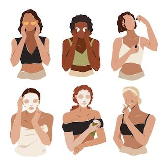 스킨케어 제품을 사용하는 다양한 여성들이 메이크업을 제거하고 세럼 또는 크림 스킨 케어 의식을 적용합니다.