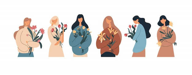 Various women with flower bouquets. flat vector illustration