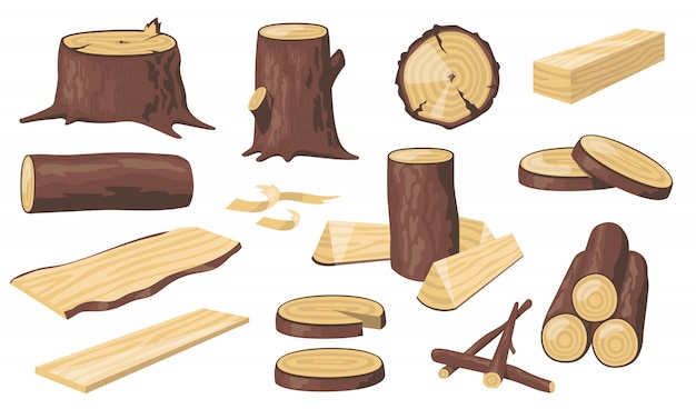 다양한 목재 통나무 및 트렁크