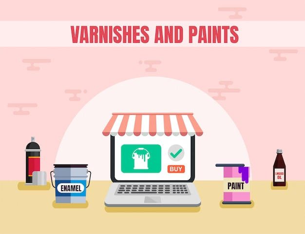 Varnishes and paints materials flat vector