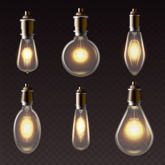 Varoius shapes of golden light bulbs