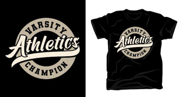 バーシティアスレチックチャンピオンのタイポグラフィtシャツのデザイン