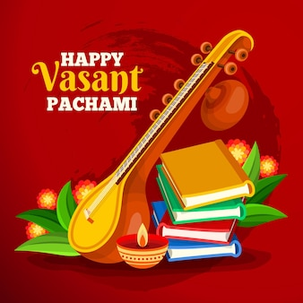 Vasant panchami festival instrument and books