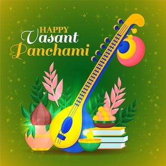 Vasant panchami festival saraswati flat design
