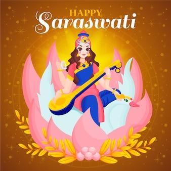 Vasant panchami festival saraswati 평면 디자인
