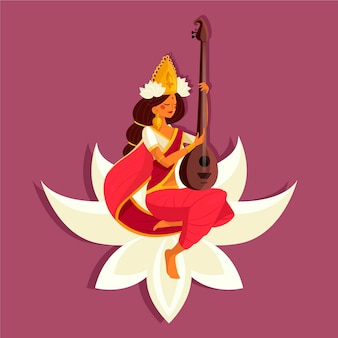 Vasant panchami festival saraswati flat design Free Vector