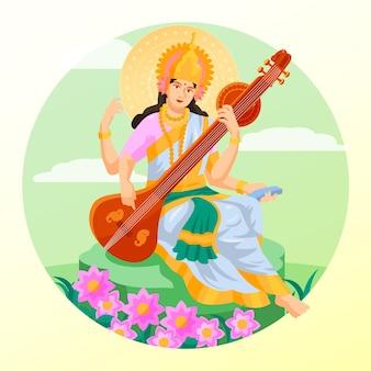 バサントパンチャミ祭サラスワティ女神フラットデザイン