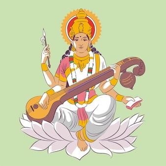 Vasant panchami festival saraswati and instrument