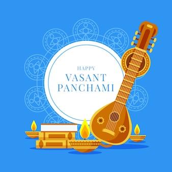 Vasant panchami flat design guitar